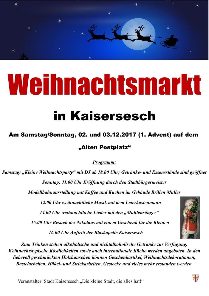 Weihnachtsmarkt in Kaisersesch am 02. und 03.12.2017 - Stadt ...
